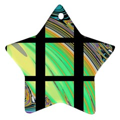 Black Window With Colorful Tiles Star Ornament (two Sides)