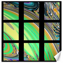 Black Window with Colorful Tiles Canvas 12  x 12