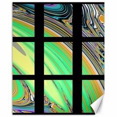 Black Window with Colorful Tiles Canvas 16  x 20