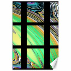 Black Window with Colorful Tiles Canvas 24  x 36