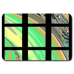 Black Window With Colorful Tiles Large Doormat