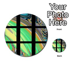 Black Window With Colorful Tiles Multi Purpose Cards (round)