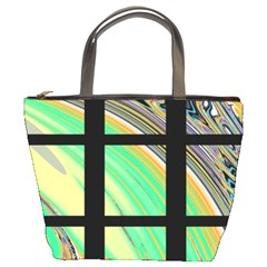 Black Window with Colorful Tiles Bucket Bags