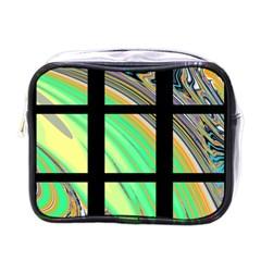 Black Window With Colorful Tiles Mini Toiletries Bags