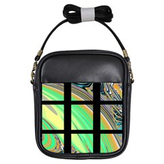 Black Window with Colorful Tiles Girls Sling Bags