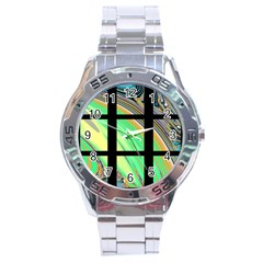 Black Window with Colorful Tiles Stainless Steel Men s Watch