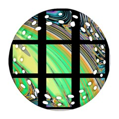 Black Window with Colorful Tiles Round Filigree Ornament (2Side)