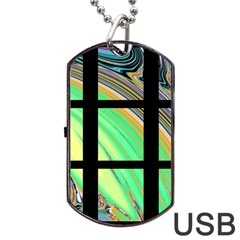 Black Window With Colorful Tiles Dog Tag Usb Flash (one Side)