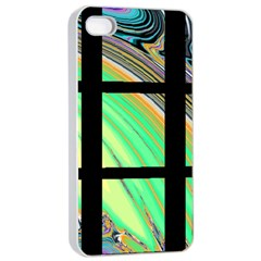 Black Window with Colorful Tiles Apple iPhone 4/4s Seamless Case (White)