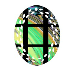 Black Window With Colorful Tiles Oval Filigree Ornament (2 Side)