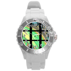 Black Window With Colorful Tiles Round Plastic Sport Watch (l)
