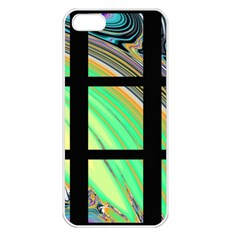 Black Window with Colorful Tiles Apple iPhone 5 Seamless Case (White)