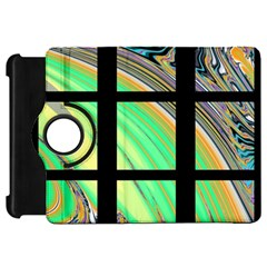 Black Window with Colorful Tiles Kindle Fire HD Flip 360 Case