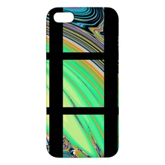 Black Window with Colorful Tiles Apple iPhone 5 Premium Hardshell Case
