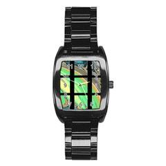 Black Window With Colorful Tiles Stainless Steel Barrel Watch