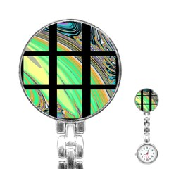 Black Window With Colorful Tiles Stainless Steel Nurses Watches