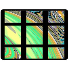 Black Window With Colorful Tiles Double Sided Fleece Blanket (large)