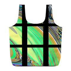 Black Window With Colorful Tiles Full Print Recycle Bags (l)