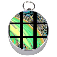 Black Window With Colorful Tiles Silver Compasses