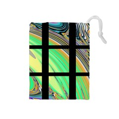 Black Window With Colorful Tiles Drawstring Pouches (medium)