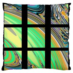 Black Window with Colorful Tiles Large Flano Cushion Cases (Two Sides)