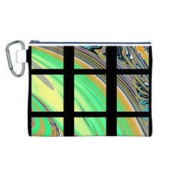 Black Window with Colorful Tiles Canvas Cosmetic Bag (L)