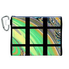 Black Window with Colorful Tiles Canvas Cosmetic Bag (XL)