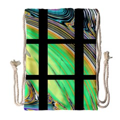 Black Window With Colorful Tiles Drawstring Bag (large)