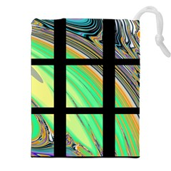 Black Window with Colorful Tiles Drawstring Pouches (XXL)