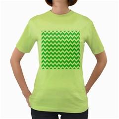 Chevron Pattern Gifts Women s Green T Shirt
