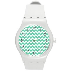 Chevron Pattern Gifts Round Plastic Sport Watch (M)