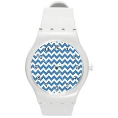 Chevron Pattern Gifts Round Plastic Sport Watch (M)