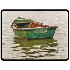 Old Fishing Boat At Santa Lucia River In Montevideo Fleece Blanket (Large)