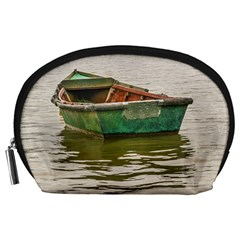 Old Fishing Boat At Santa Lucia River In Montevideo Accessory Pouches (large)