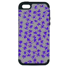 Purple Pattern Apple iPhone 5 Hardshell Case (PC+Silicone)