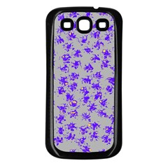 Purple Pattern Samsung Galaxy S3 Back Case (Black)