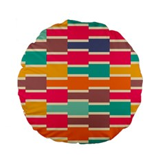 Connected Colorful Rectangles 	standard 15  Premium Flano Round Cushion