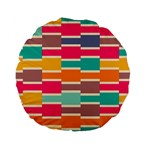 Connected colorful rectangles 	Standard 15  Premium Flano Round Cushion Back