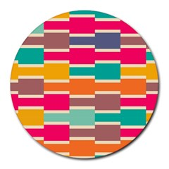 Connected colorful rectangles			Round Mousepad