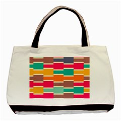 Connected colorful rectangles			Basic Tote Bag