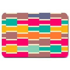 Connected colorful rectanglesLarge Doormat