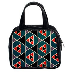 Triangles in retro colors pattern Classic Handbag (Two Sides)
