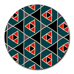 Triangles in retro colors patternRound Mousepad