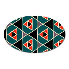 Triangles in retro colors patternMagnet (Oval)