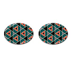 Triangles in retro colors pattern			Cufflinks (Oval)