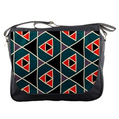 Triangles in retro colors patternMessenger Bag