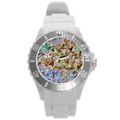 Abstract Background Wall 1 Round Plastic Sport Watch (L)