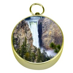 YELLOWSTONE WATERFALL Gold Compasses