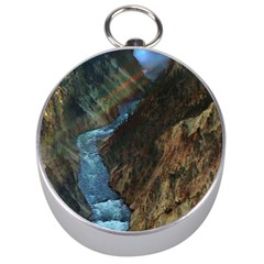 YELLOWSTONE LOWER FALLS Silver Compasses