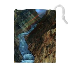 YELLOWSTONE LOWER FALLS Drawstring Pouches (Extra Large)